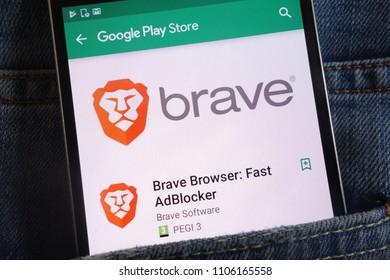 KONSKIE, POLAND - JUNE 02, 2018: Brave Browser app on Google Play Store website displayed on smartphone hidden in jeans pocket