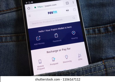 KONSKIE, POLAND - JUNE 02, 2018: Paytm website displayed on smartphone hidden in jeans pocket