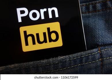 KONSKIE, POLAND - JUNE 02, 2018: Pornhub logo displayed on smartphone hidden in jeans pocket