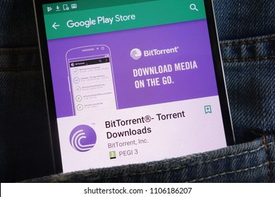 KONSKIE, POLAND - JUNE 02, 2018: BitTorrent app on Google Play Store website displayed on smartphone hidden in jeans pocket