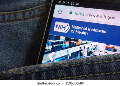 KONSKIE, POLAND - JUNE 02, 2018: National Institutes of Health (NIH) website displayed on smartphone hidden in jeans pocket