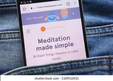KONSKIE, POLAND - JUNE 09, 2018: Headspace website displayed on smartphone hidden in jeans pocket
