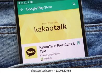 KONSKIE, POLAND - JUNE 09, 2018: KakaoTalk app on Google Play Store website displayed on smartphone hidden in jeans pocket
