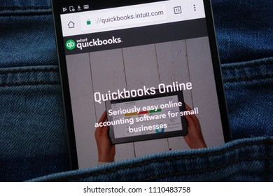 KONSKIE, POLAND - JUNE 11, 2018: Intuit Quickbooks website  displayed on smartphone hidden in jeans pocket