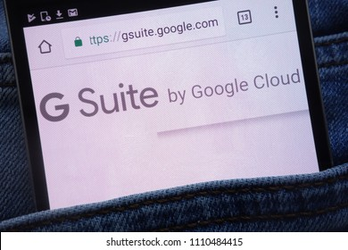 KONSKIE, POLAND - JUNE 11, 2018: Google G Suite website displayed on smartphone hidden in jeans pocket