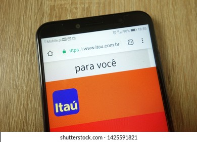 KONSKIE, POLAND - June 11, 2019: Itau Unibanco bank website displayed on mobile phone