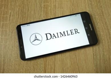 KONSKIE, POLAND - June 11, 2019: Daimler AG company logo displayed on mobile phone
