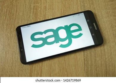 KONSKIE, POLAND - June 11, 2019: Sage Group plc company logo displayed on mobile phone