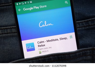 KONSKIE, POLAND - JUNE 12, 2018: Calm - Meditate, Sleep, Relax app on Google Play Store website displayed on smartphone hidden in jeans pocket