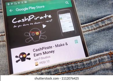 KONSKIE, POLAND - JUNE 12, 2018: CashPirate - Make and Earn Money app on Google Play Store website displayed on smartphone hidden in jeans pocket