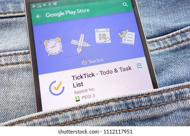 KONSKIE, POLAND - JUNE 12, 2018: TickTick - Todo and Task List app on Google Play Store website displayed on smartphone hidden in jeans pocket