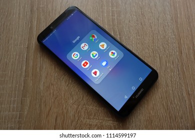 KONSKIE, POLAND - JUNE 17, 2018: Google apps including Gmail, Maps, Youtube, Duo, Play Music on Huawei Y6 2018 smartphone