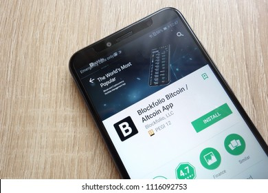 KONSKIE, POLAND - JUNE 17, 2018: Blockfolio Bitcoin / Altcoin App on Google Play Store website displayed on Huawei Y6 2018 smartphone