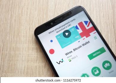 KONSKIE, POLAND - JUNE 17, 2018: Wirex. Bitcoin Wallet app on Google Play Store website displayed on Huawei Y6  2018 smartphone