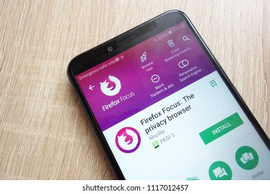 KONSKIE, POLAND - JUNE 17, 2018: Firefox Focus: The privacy browser app on Google Play Store website displayed on Huawei Y6 2018 smartphone