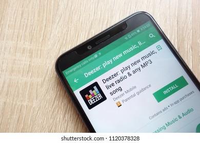 KONSKIE, POLAND - JUNE 17, 2018: Deezer app on Google Play Store website displayed on Huawei Y6 2018 smartphone