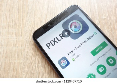 KONSKIE, POLAND - JUNE 17, 2018: Pixlr - Free Photo Editor app on Google Play Store website displayed on Huawei Y6 2018 smartphone