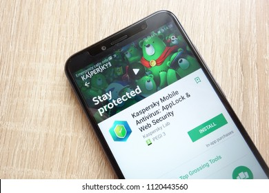 KONSKIE, POLAND - JUNE 17, 2018: Kaspersky Mobile Antivirus: AppLock and Web Security app on Google Play Store website displayed on Huawei Y6 2018 smartphone