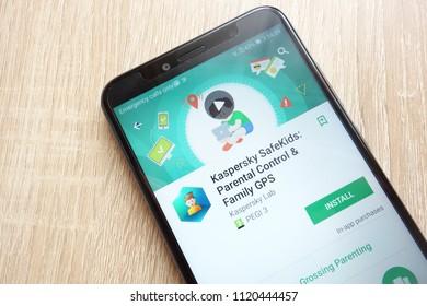 KONSKIE, POLAND - JUNE 17, 2018: Kaspersky Safe Kids: Parental Control and Family GPS app on Google Play Store website displayed on Huawei Y6 2018 smartphone