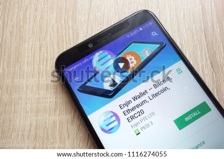 KONSKIE, POLAND - JUNE 17, 2018: Enjin Wallet - Bitcoin, Ethereum, Litecoin, ERC20 app on Google Play Store website displayed on Huawei Y6 2018 smartphone