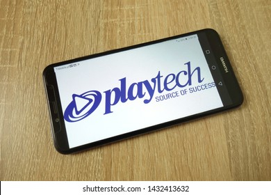 KONSKIE, POLAND - June 21, 2019: Playtech plc company logo displayed on mobile phone