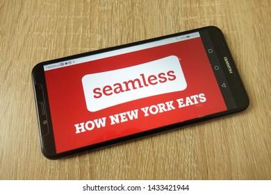 KONSKIE, POLAND - June 21, 2019: Seamless North America Llc company logo displayed on mobile phone