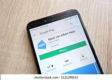 KONSKIE, POLAND - JUNE 24, 2018: Appie van Albert Heijn app on Google Play Store website displayed on Huawei Y6 2018 smartphone