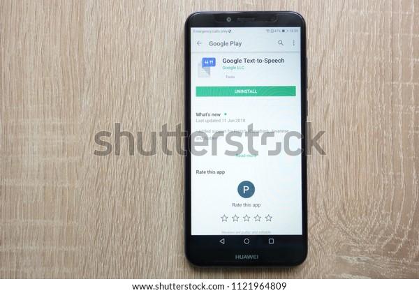 KONSKIE, POLAND - JUNE 24, 2018: Google Text-to-Speech app on Google Play Store website displayed on Huawei Y6 2018 smartphone