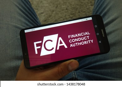 KONSKIE, POLAND - June 29, 2019: Financial Conduct Authority - FCA logo displayed on mobile phone