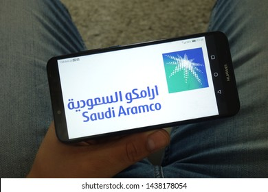 KONSKIE, POLAND - June 29, 2019: Saudi Aramco logo displayed on mobile phone