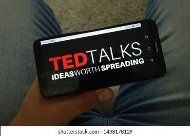 KONSKIE, POLAND - June 29, 2019: Ted Talks logo displayed on mobile phone