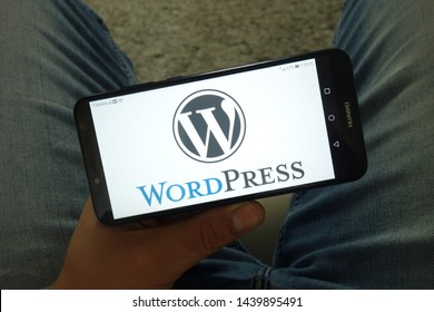 KONSKIE, POLAND - June 29, 2019: WordPress content management system logo displayed on mobile phone