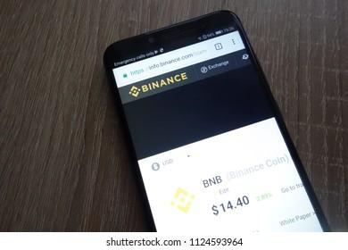 KONSKIE, POLAND - JUNE 30, 2018: Binance Coin (BNB) cryptocurrency website displayed on Huawei Y6 2018 smartphone