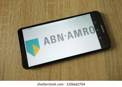 KONSKIE, POLAND - March 11, 2019: ABN AMRO Bank N.V. logo displayed on smartphone
