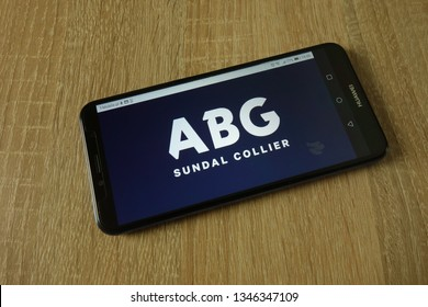 KONSKIE, POLAND - March 14, 2019: ABG Sundal Collier bank logo displayed on smartphone