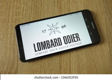 KONSKIE, POLAND - March 14, 2019: Bank Lombard Odier & Co Ltd logo displayed on smartphone
