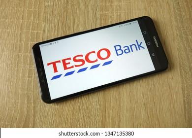 KONSKIE, POLAND - March 16, 2019: Tesco Bank logo displayed on smartphone