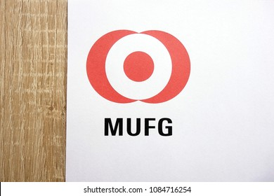 KONSKIE, POLAND - MAY 05, 2018: The Bank of Tokyo - Mitsubishi UFJ Financial Group logo on paper sheet, MUFG is one of the largest banks in the world