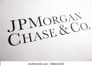 KONSKIE, POLAND - MAY 05, 2018: Corporate lettering of J.P. Morgan Chase & Co. on paper sheet, J.P. Morgan Chase & Co. is an American banking and financial services holding company