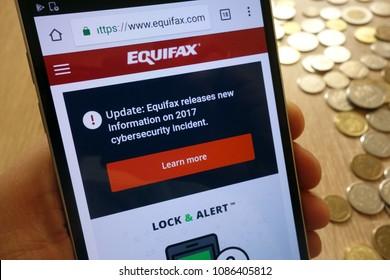 KONSKIE, POLAND - MAY 08, 2018: Equifax Canada website displayed on smartphone