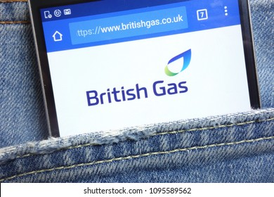 KONSKIE, POLAND - MAY 18, 2018: British Gas website displayed on smartphone hidden in jeans pocket