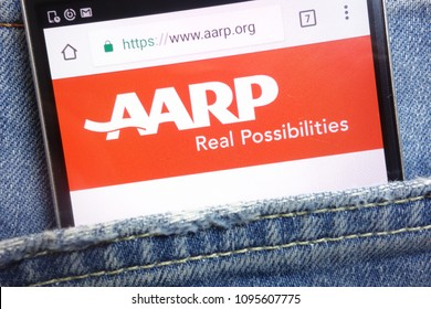 KONSKIE, POLAND - MAY 18, 2018: AARP (American Association of Retired Persons) website displayed on smartphone hidden in jeans pocket