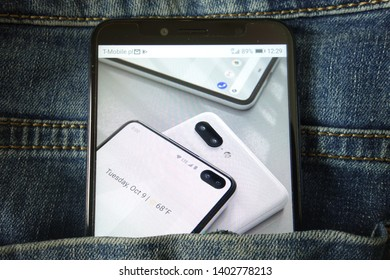 KONSKIE, POLAND - May 18, 2019: new smartphone Google Pixel 4 concept design displayed on mobile phone hidden in jeans pocket