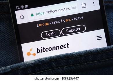 KONSKIE, POLAND - MAY 19, 2018: Bitconnect website displayed on smartphone hidden in jeans pocket