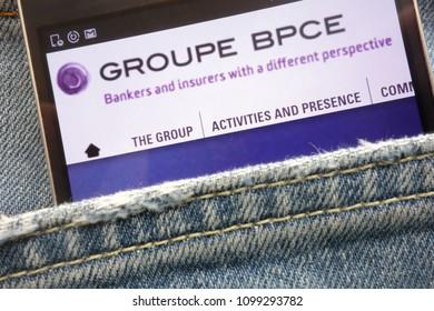 KONSKIE, POLAND - MAY 19, 2018: Groupe BPCE website displayed on smartphone hidden in jeans pocket