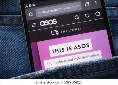 KONSKIE, POLAND - MAY 19, 2018: ASOS website displayed on smartphone hidden in jeans pocket