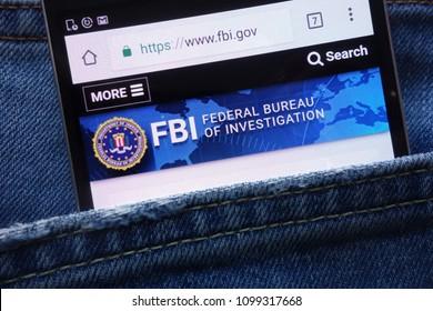 KONSKIE, POLAND - MAY 19, 2018: FBI (Federal Bureau of Investigation) website displayed on smartphone hidden in jeans pocket