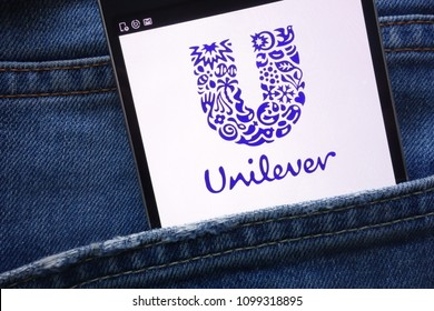 KONSKIE, POLAND - MAY 19, 2018: Unilever website displayed on smartphone hidden in jeans pocket