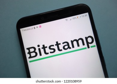 KONSKIE, POLAND - November 03, 2018: Bitstamp cryptocurrency exchange logo on smartphone