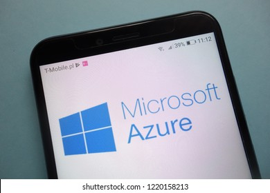 KONSKIE, POLAND - November 03, 2018: Microsoft Azure logo on smartphone